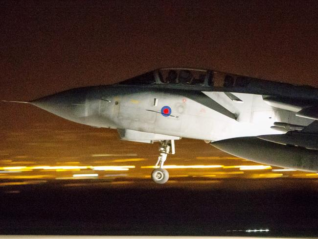 RAF Tornados take off from RAF Akrotiri in Cyprus to conduct strikes in support of joint allied operations in Syria.