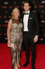 Western Bulldogs Marcus Bontempelli and mum Geraldine arrive at the 2016 Brownlow Medal Count.