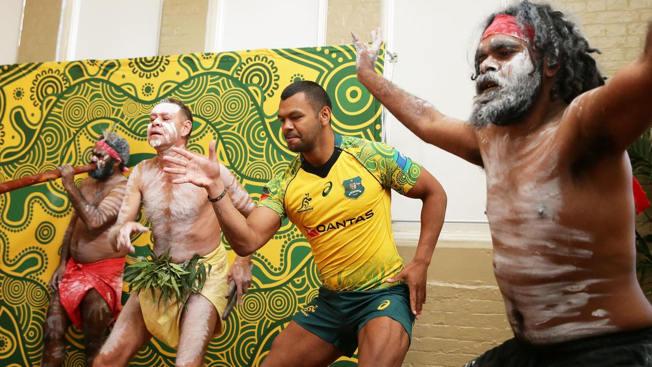 Kurtley Beale dances with indigenous performers during the Wallabies indigenous Jersey Launch at the National Centre of indigenous Excellence on July 17, 2017.