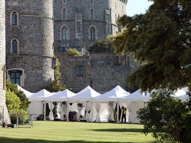 Preparations continue in Windsor ahead of the royal wedding on Saturday. Picture: MEGA