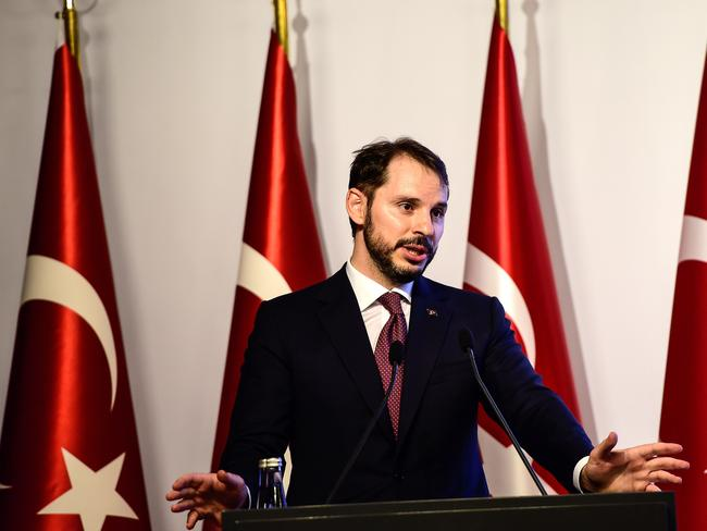 Turkish Treasury and Finance Minister Berat Albayrak has said the government will safeguard the independence of the central bank. Picture: AFP