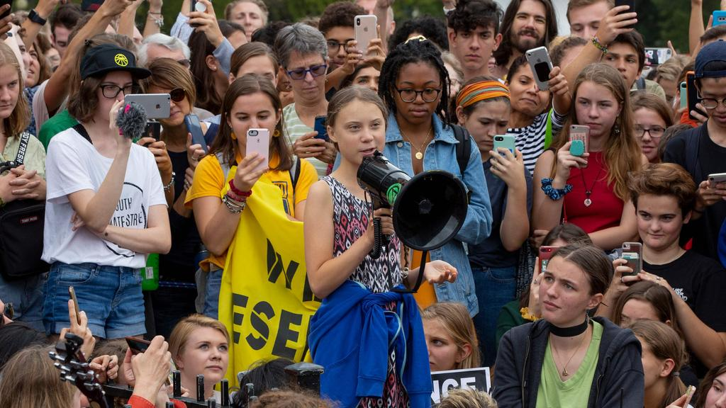 "Thunberg has spurred teenagers and students around the world to strike from school every Friday under the rallying cry ""Fridays for future"" to call on adults to act now to save the planet. Picture: Alastair Pike/AFP."