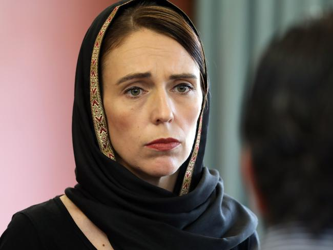 Prime Minister Jacinda Ardern meeting with the representatives of the refugee centre during a visit to the Canterbury Refugee Centre in Christchurch after the attack. Picture: OFFICE OF PRIME MINITER NEW ZEALAND / AFP.