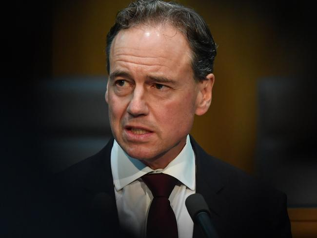 Minister for Health Greg Hunt during a press conference at Parliament House. Picture: Getty