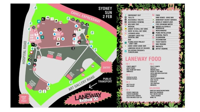 Attendees at Laneway Festival were only allowed to drink alcohol in the pink areas.