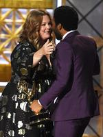 Donald Glover accepts Outstanding Directing for a Comedy Series for 'Atlanta' (episode 'B.A.N.') from Melissa McCarthy onstage during the 69th Annual Primetime Emmy Awards at Microsoft Theater on September 17, 2017 in Los Angeles, California. Picture: Getty