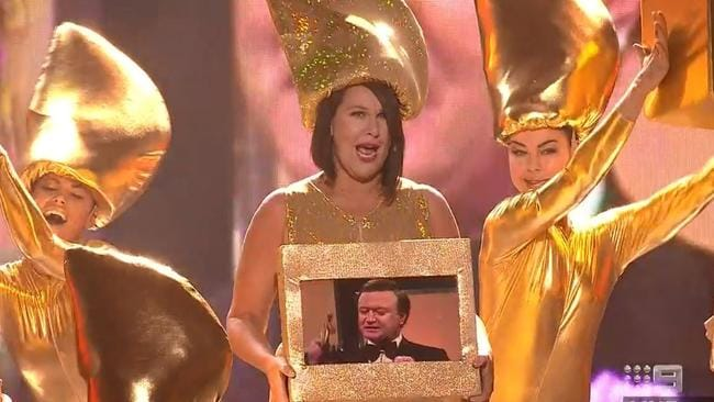 Julia Morris mid-song. Picture: Channel 9