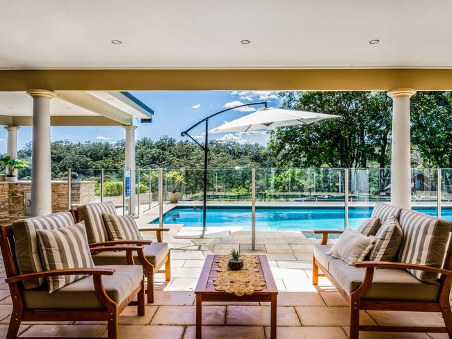 The home offers indoor and outdoor living