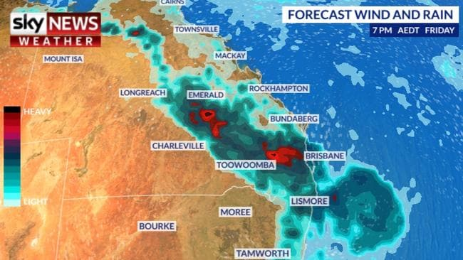 More rain is expected on the weekend in parts of Queensland and the south eastern states. Picture: Sky News Weather