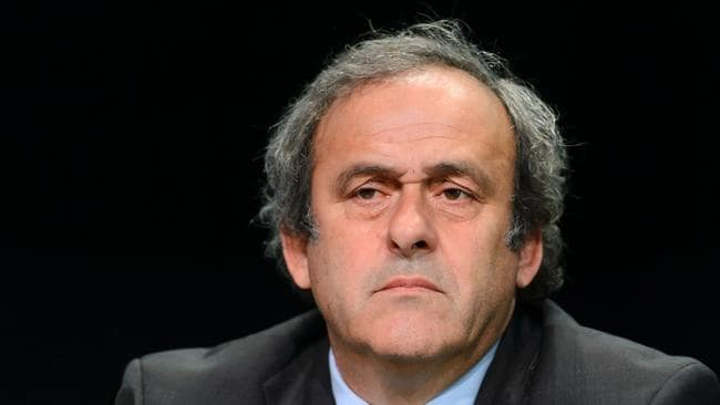 Former UEFA President Michel Platini giving a press conference