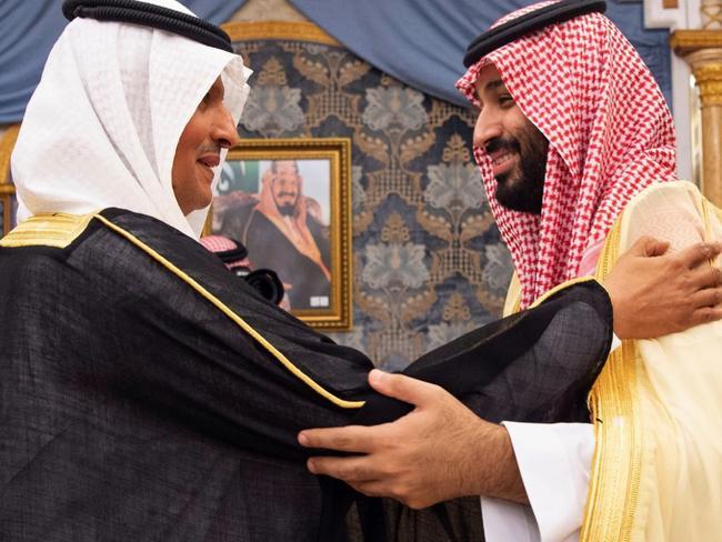 Prince Abdulaziz bin Salman (L) embraces his brother Saudi Crown Prince Mohammed bin Salman. Picture: AFP