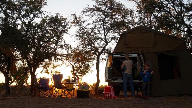 Setting up camp. Picture: Leah McLennan