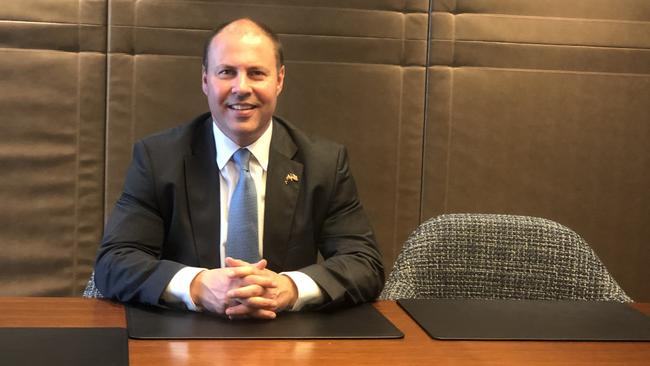 Treasurer Josh Frydenberg speaks with news.com.au in New York.