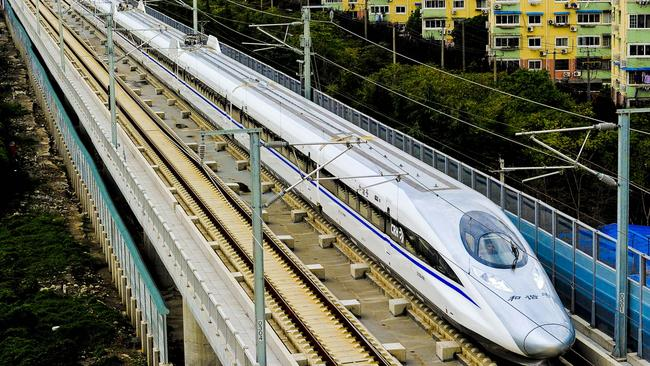 A Chinese high-speed train leaves Shanghai.