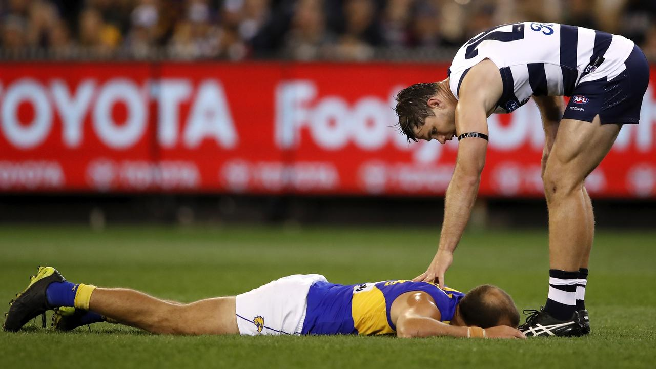 Hawkins missed Geelong's preliminary final last year for striking Will Schofield (Photo by Dylan Burns/AFL Photos).