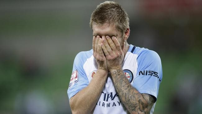 Luke Brattan was left shattered after the elimination final loss to Perth Glory, but it's possible he could stay at the club. Picture: Getty Images