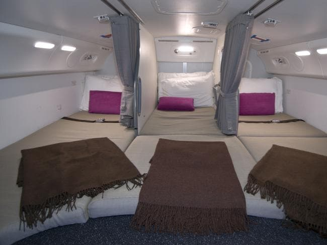 Inside the crew rest area in a Dreamliner.