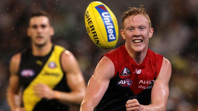 Clayton Oliver continued his stellar 2017 season in Melbourne's loss to Richmond. Pic: Michael Klein
