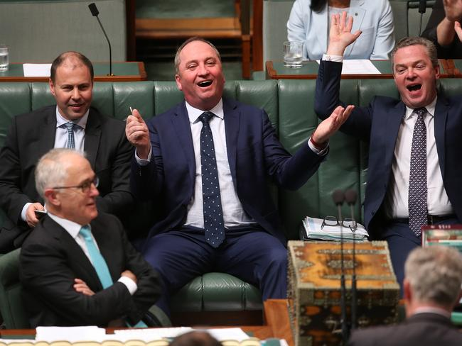 Minister for Environment and Energy Josh Frydenberg, Deputy PM Barnaby Joyce and Leader of the House Christopher Pyne react in Question Time as the citizenship scandal continues. Picture Kym Smith