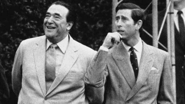 British publisher Robert Maxwell met with Prince Charles at Kensington Palace in 1985. Picture: Daily Express/Hulton Archive/Getty Images