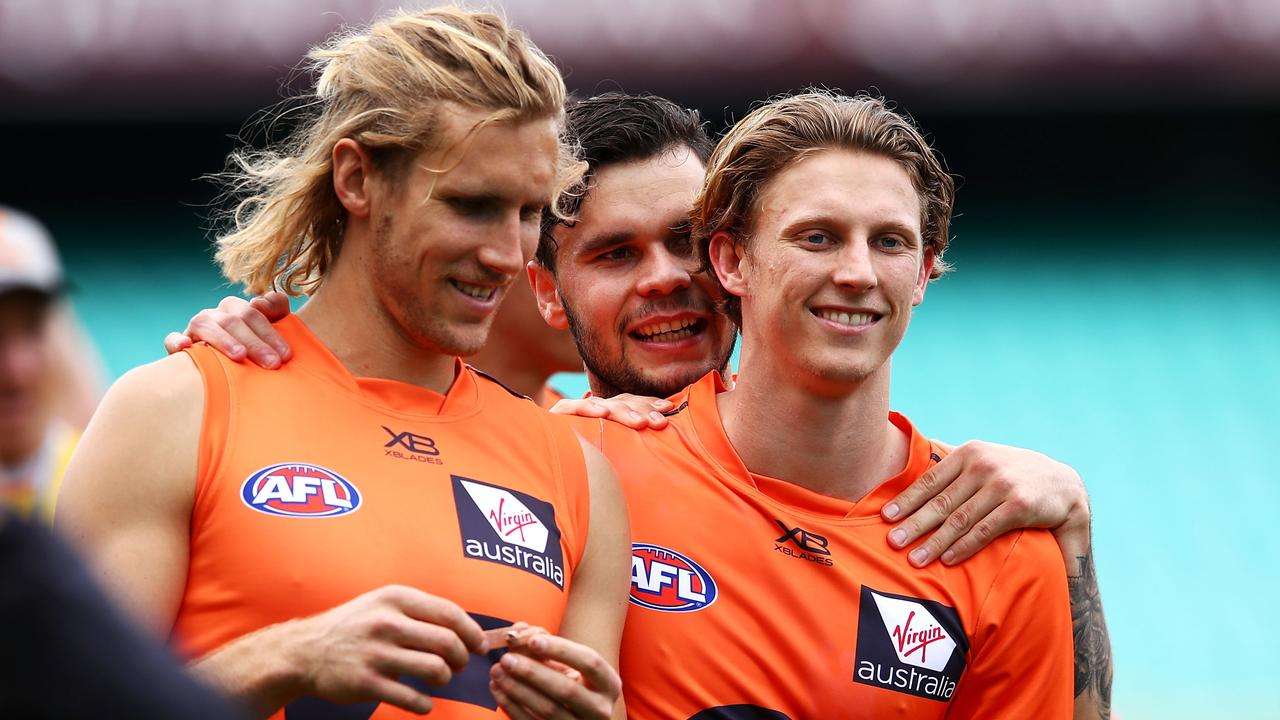 Nick Haynes and Lachie Whitfield are glad to have Zac Williams back in the GWS Giants' senior side.