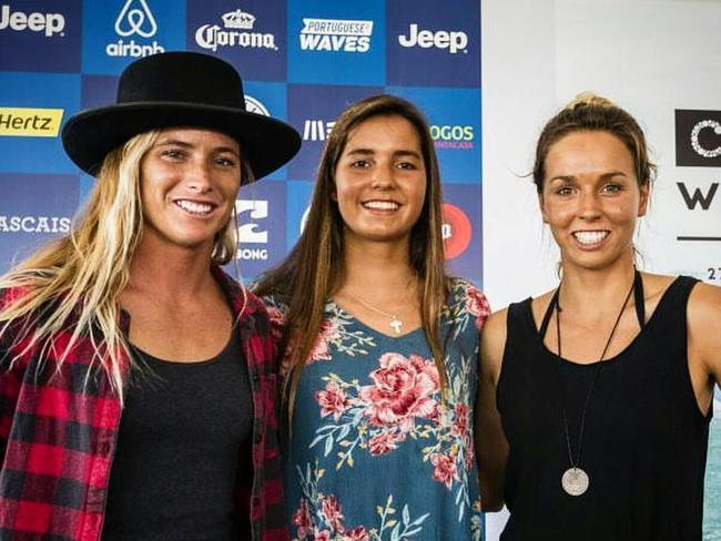 Courtney Conlogue, Teresa Bonvalot and Sally Fitzgibbons in Portugal last year.