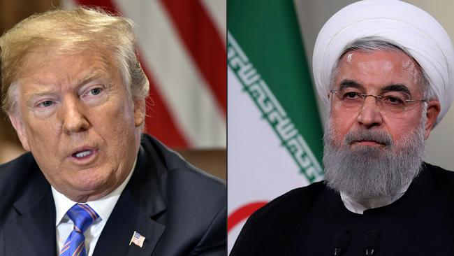 US President Donald Trump at the White House in Washington, DC, (left) and Iranian President Hassan Rouhani giving a speech on Iranian TV in Tehran. Picture: Nicholas Kamm and HO / AFP.