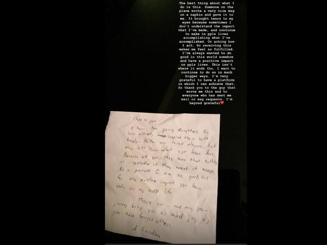 Bianca Andreescu received this letter in the middle of her flight.