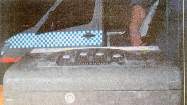 An image of the hoax collar bomb created by Paul Douglas Peters that was displayed during a sentencing hearing at Downing Center Local Court in Sydney in 2012. Photo: AAP Image/Tracey Nearmy