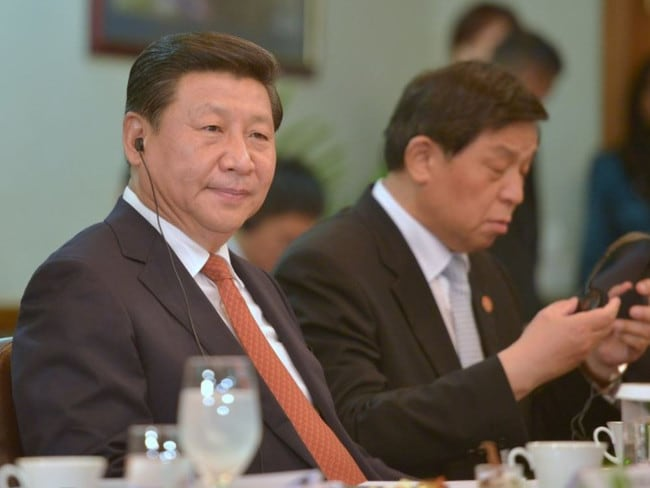 "Chinese President Xi Jinping looks on during bilateral talks at the Maldives President's Office in the capital island Male, where he sought backing for a ""21st century maritime silk road"". Picture: AFP"