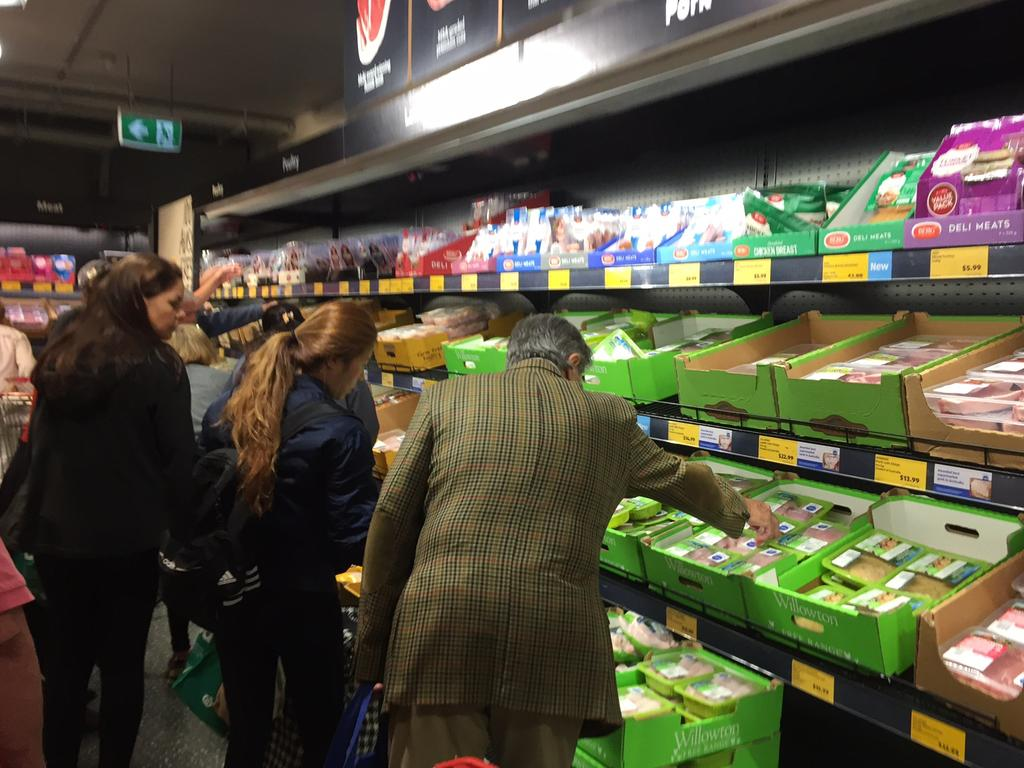 Crowds streamed through Aldi's Edgecliff store, stocking up on meat, fruit and vegetables. Picture: Supplied