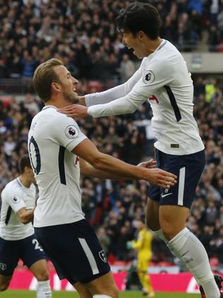 Tottenham's Son Heung-min celebrates with Kane.