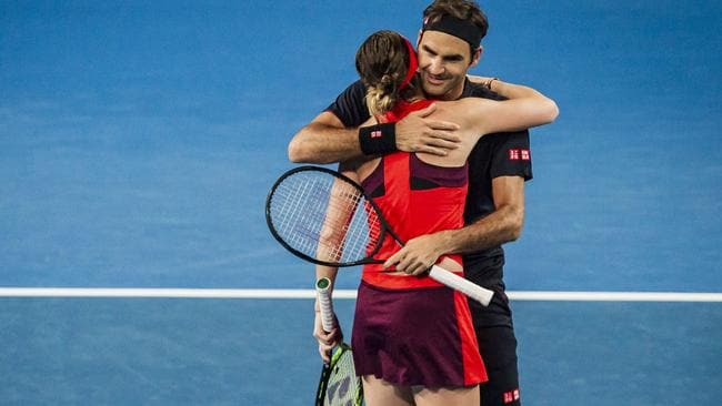 Belinda Bencic and Roger Federer teamed up to beat the Brits on Sunday night.