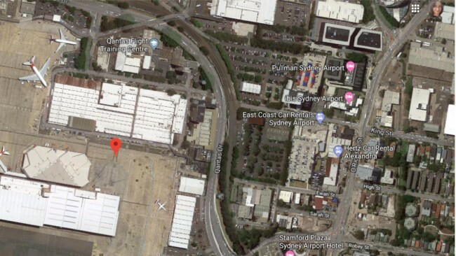 The woman was raped on Qantas Drive at Mascot - an industrial area. Source: Google