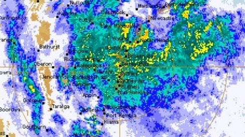 The enormous storm over Sydney during the worst of the rain on Sunday. Picture: BOM