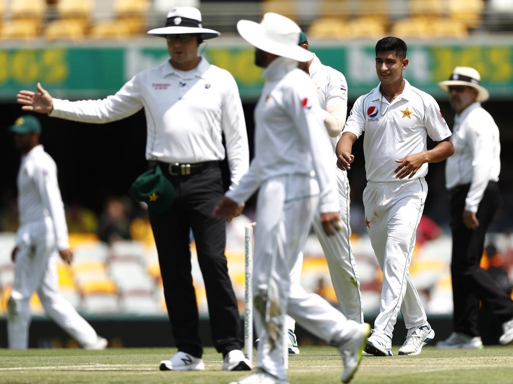 Umpire Richard Kettleborough signals a no ball, denying Naseem Shah of Pakistan his maiden Test wicket.