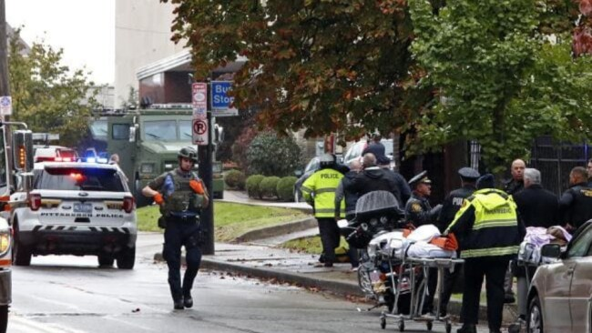 First responders surround the Tree of Life Synagogue in Pittsburgh. Picture: AP Source:AP