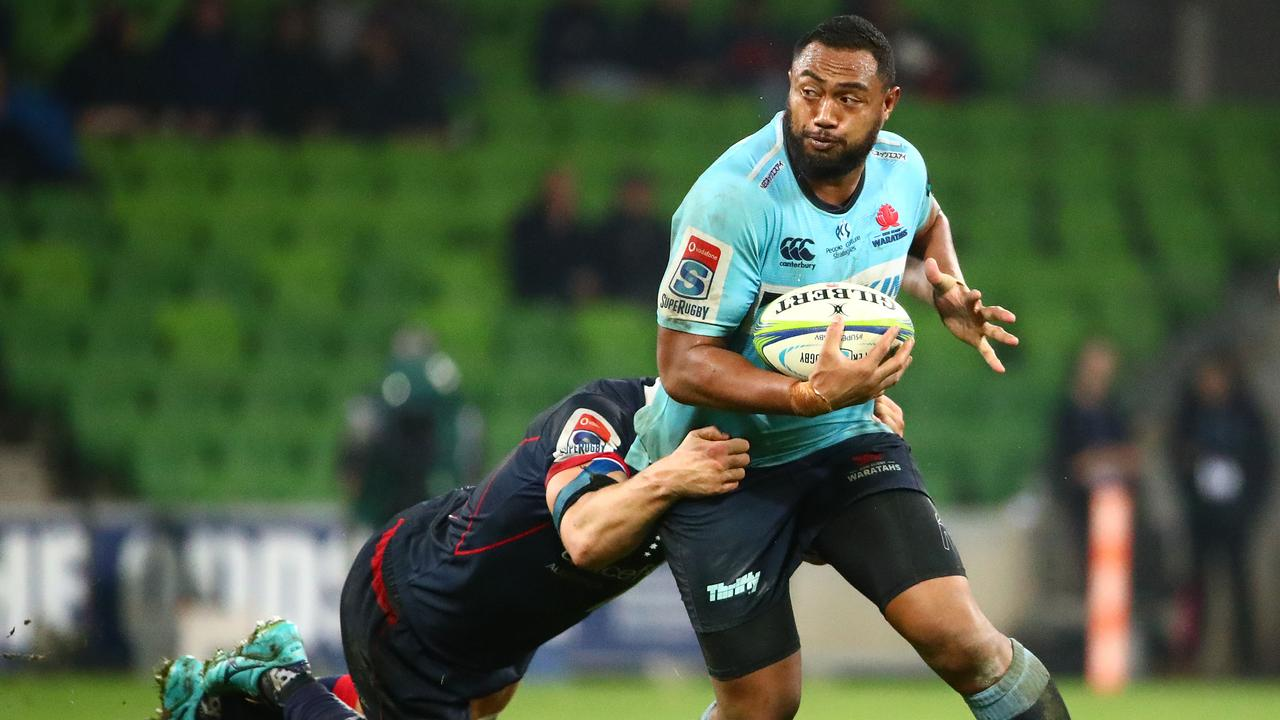 Sekope Kepu of the Waratahs runs with the ball.