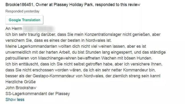 The owner's reply, in German. Picture: Daily Post