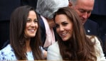 FILE - Pippa Middleton Reportedly Expecting Her First Child With Husband James Matthews LONDON, ENGLAND - JULY 08: Pippa Middleton (L) and Catherine, Duchess of Cambridge sit in the Royal Box during the Gentlemen's Singles final match between Roger Federer of Switzerland and Andy Murray of Great Britain on day thirteen of the Wimbledon Lawn Tennis Championships at the All England Lawn Tennis and Croquet Club on July 8, 2012 in London, England. (Photo by Clive Brunskill/Getty Images)