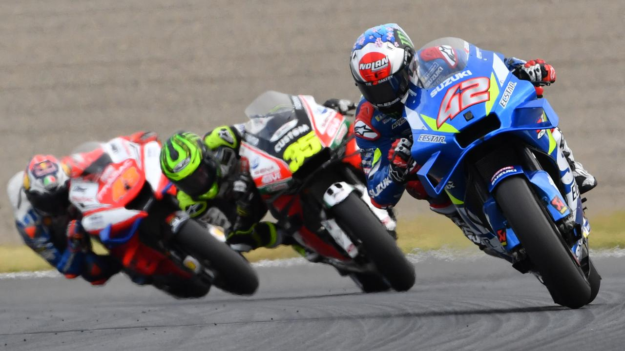 Miller falls behind Rins (42) and Crutchlow (35). Picture: Toshifumi Kitamura