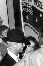 Singer David Bowie arriving in Adelaide in 1983. Picture: News Corp