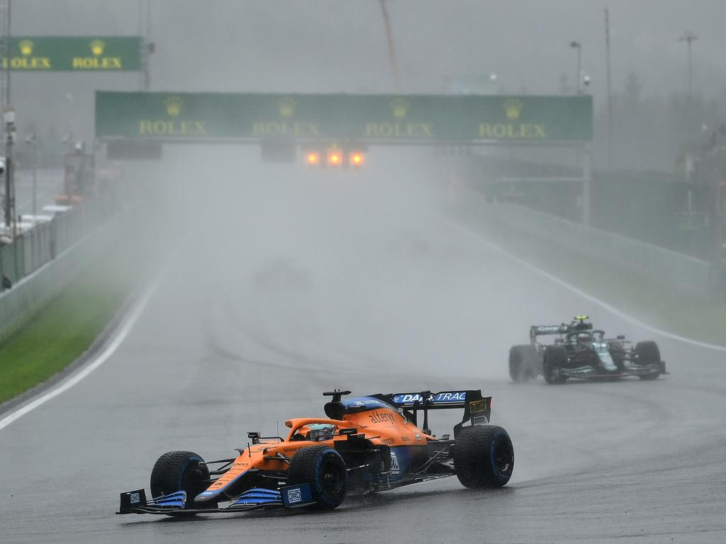 It was extremely soggy on the track at Spa. (Photo by Dan Mullan/Getty Images)
