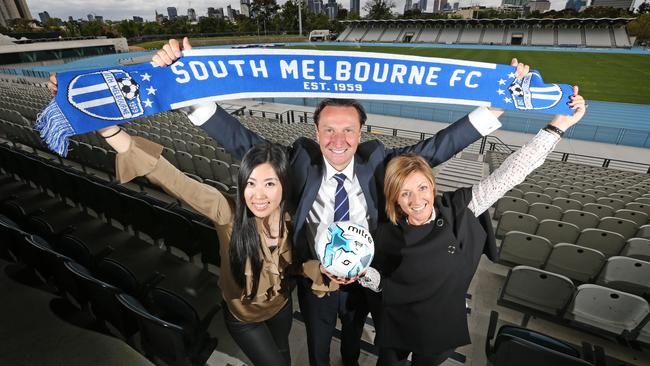 South Melbourne A-League Advisory Board chairman Bill Papastergiadis, with bid team members L to R Luisa Chen and Gabrielle Giuliano.
