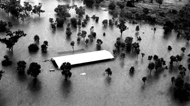 Town of Katherine under floodwaters after being hit by a downpour caused by Cyclone Les.