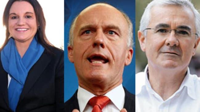 Tasmanian politicians: Independent Senator Jacqui Lambie, Liberal Senator Eric Abetz and Independent MP Andrew Wilkie.