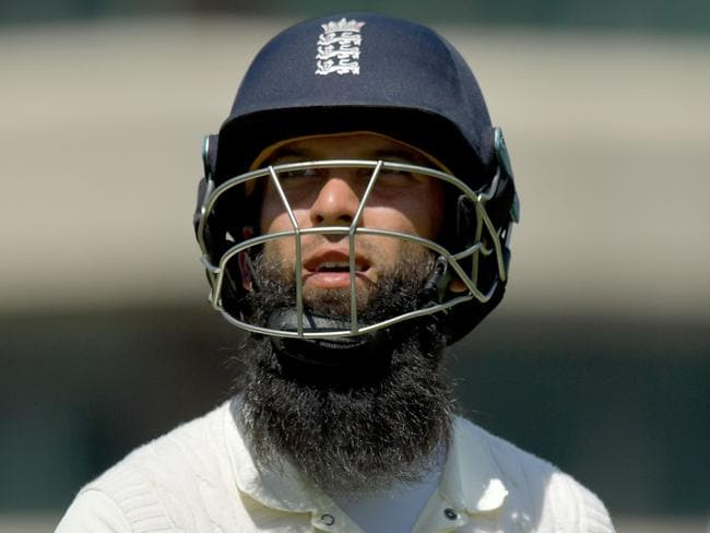 England's Moeen Ali leaves the field after losing his wicket for 27 runs.