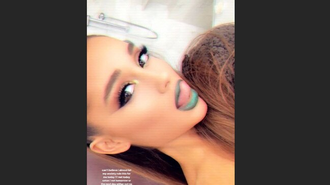 Ariana Grande in selfies she posted to her Instagram stories.