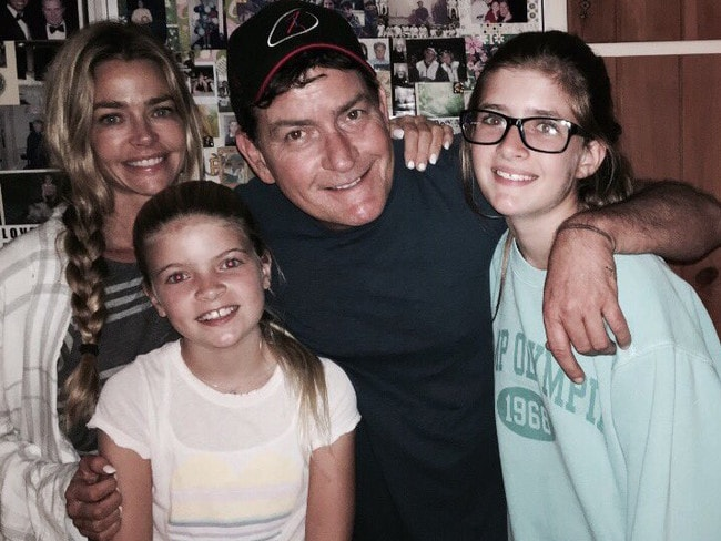 Charlie Sheen poses for a rare family photo with ex-wife Denise Richards and daughters Sam and Lola Rose. Picture: Instagram