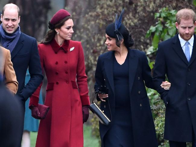 While Meghan and Kate chatted animatedly, Harry and Wills didn't make eye contact. Picture: Paul Ellis/AFP